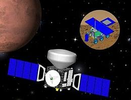 Ansicht des Exomars-Orbiters mit dem Abstiegsmodul sowie dem Rover (Bild: ESA)