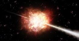 Gammastrahlenausbrüche sind die hellsten Explosionen im Universum. Innerhalb einiger Sekunden strahlen sie mehr Energie aus als die Sonne in einer Milliarde Jahren. Die physikalischen Prozesse in diesen kosmischen Katastrophen zu verstehen, ist eines der wichtigen Ziele der modernen astrophysikalischen Forschung. Diese künstlerische Abbildung zeigt den Ausbruch und die Entstehung der lichtschnellen Düsenstrahlen. (Bild: ESO/A. Roquette)