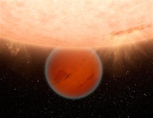 Künstlerische Darstellung des heißen Exoplaneten GJ 436b, dessen grundlegender Aufbau dem unseres Gasplaneten Neptun ähneln. (Bild: NASA/JPL-Caltech)