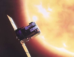 SOHO beobachtet die Sonne - Künstlerische Darstellung. (Bild: ESA)