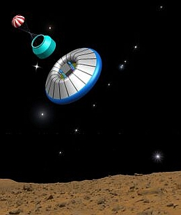 Abstieg von Exomars auf den Roten Planeten. (Bild: ESA)