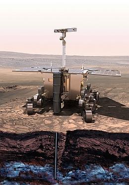 Mit seinem Bohrer wird der ExoMars-Rover Bodenproben aus einer Tiefe von bis zu zwei Metern entnehmen, welche anschließend durch die Instrumente im Detail untersucht werden können. (Bild: ESA)