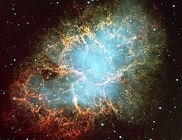 Der Krabbennebel im Sternbild Stier ist ein pulsarer Nebel, in dessen Zentrum ein Pulsar rotiert - Relikt einer Supernova, die auf der Erde im Jahr 1054 n.Chr. wahrgenommen wurde. Solche kosmischen Objekte stellen aufgrund ihrer enormen elektrischen Felder gigantische Teilchenbeschleuniger und somit Quellen der Gammastrahlung dar, die mit Hilfe des H.E.S.S.-Projekts registriert werden sollen. (Foto: FORS-Team, 8.2-Meter VLT/ESO)