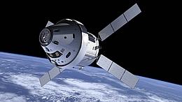 Künstlerische Darstellung der Orion mit europäischem Service-Modul im Weltraum. (Bild: NASA)