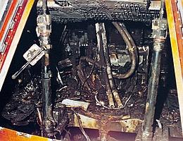 Das Innere der Besatzungskabine nach dem Brand. (Bild: NASA)