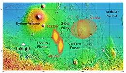 InSight lokalisiert Marsbeben in der Region Cerberus Fossae. (Bild: NASA/USGS/MOLA; DLR (nach Giardini et al., 2020))