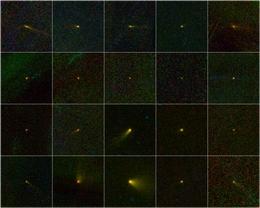 Eine Collage der 20 durch die NEOWISE-Mission entdeckten Kometen. Vier der Objekte waren den Astronomen bereits vorher bekannt, wurden aber fälschlicherweise als Asteroiden angesehen. Erst die Infrarotaufnahmen von WISE zeigten ihre wahre Natur. (Bild: NASA, JPL-Caltech, UCLA, WISE-Team)