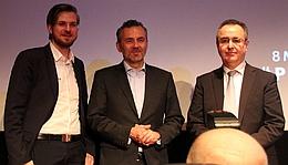 Robert Böhme (PTScientists), Thomas Jarzombek (Bund), Pierre Godart (ArianeGroup) (Bild: Andreas Weise)