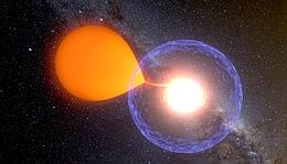 Künstlerische Darstellung eines Nova-Ausbruchs: Bei einem Nova-Ausbruch saugt ein Weißer Zwerg Materie von seinem Begleitstern ab und speichert diese Masse an seiner Oberfläche so lange, bis der Gasdruck extrem hoch wird. (Bild K. Ulaczyk, Warschau Universität Observatorium)