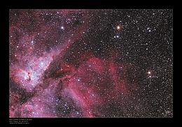 Es kommt zur Explosion, bei der Wasserstoff verbrannt wird und gewaltige Schockfronten entstehen. So können plötzlich Sterne, die vorher nur mit Fernrohren beobachtbar waren, mit freiem Auge gesehen werden. (Bild W. Paech & F. Hofmann, Chamaeleon and Onjala Observatory, Namibia)