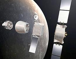Aufbruch der Sonde in ihre Hauptgruppen: rechts das Mercury Transfer Module, in der Mitte der MPO und links der MMO, zwischen MMO und MPO ein Adapter. (Bild: ESA - AOES Medialab)