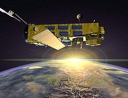 Envisat über der Erde - künstlerische Darstellung (Bild: ESA)