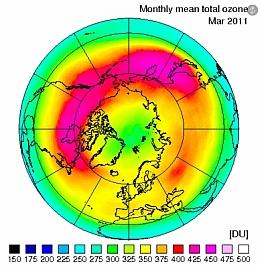 Darstellung der Ozonverteilung über der Nordhalbkugel im März 2011 (Bild: KNMI)