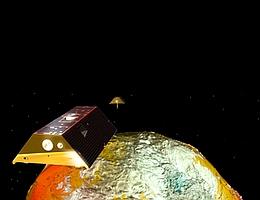 GRACE-FO Mission vor dem Schwerefeld der Erde.