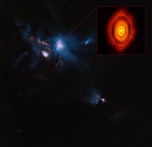 ALMA (ESO, NAOJ, NRAO), Hubble (NASA, ESA). Acknowledgement: Judy Schmidt