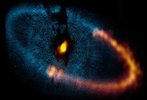 ALMA (ESO, NAOJ, NRAO). Sichtbares Licht: Hubble Space Telescope (NASA, ESA)