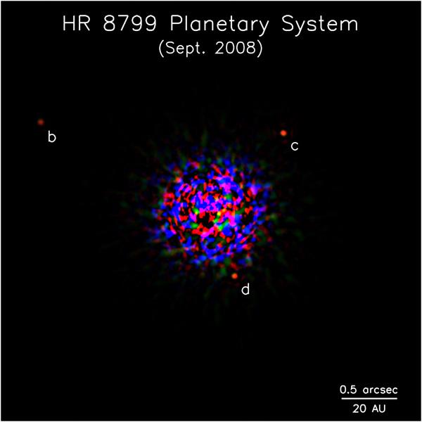 Hochauflösende Aufnahme von HR 8799 und den neuen Exoplaneten