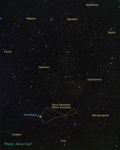 Lage des Sterns Fomalhaut am Nachthimmel