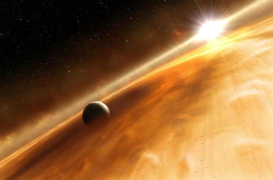 Künstliche Interpretation des Planeten um dem Stern Fomalhaut