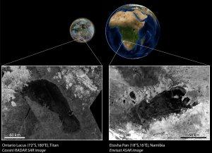 Radarbild Cassini: JPL, NASA. Radarbild Envisat: ESA. Komposit: LPG Nantes