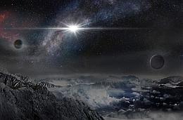Künstlerische Darstellung: So sähe man ASAS-SN-15lh von einem Exoplaneten in einem Abstand von 10.000 Lichtjahren von der Nova (Bild: Beijing Planetarium / Jin Ma)