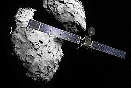 Rosetta und 67P / Tschurjumow-Gerassimenko (Bild: ESA / ATG medialab, Komet: ESA / Rosetta Navcam)