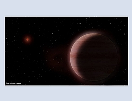 Bildliche Darstellung des Planetensystems TVLM 513–46546. Der neu gefundene Planet von der Größe des Saturn ist im Vordergrund zu sehen. Die Muttersonne, ein massearmer und kühler Brauner Zwerg, steht links im Hintergrund. (Bild: Luis A. Curiel Ramirez)