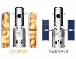 Größenvergleich der alten und neuen Solarpaneele von Hubble. (Grafik: NASA)