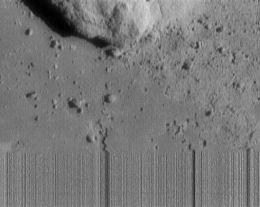 Das letzt Bild von NEAR Shoemaker aus ca. 120 m Höhe (Bild: NASA)