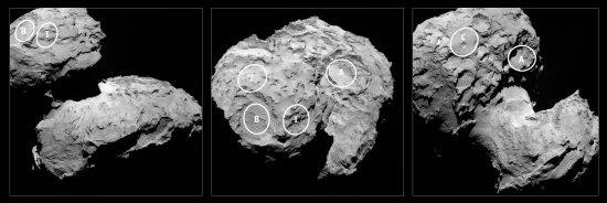 """Aus ursprünglich zehn möglichen Landeplätze, bisher benannt mit den Buchstaben """"A"""" bis """"J"""", wählten die für die für die Landeplatzauswahl verantwortlichen Wissenschaftler und Flugingenieure der ESA jetzt fünf mögliche Landestellen auf dem Kometen 67P/Tschurjumow-Gerasimenko, der sich aus einem kleineren 'Kopf', einem größeren 'Körper' und einem schmalen, aber anscheinend sehr aktiven 'Hals' zusammensetzt. Drei der möglichen Landestellen (""""B"""", """"I"""" und """"J"""") befinden sich auf dem 'Kopf', die beiden anderen Stellen liegen dagegen auf dem 'Körper'. (Bild: ESA, Rosetta, MPS for OSIRIS-Team MPS, UPD, LAM, IAA, SSO, INTA, UPM, DASP, IDA)"""