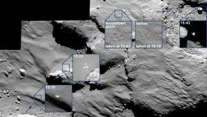 """Die Landeprozedur von Philae wurde mit der an Bord des Orbiters Rosetta befindlichen OSIRIS-Kamera dokumentiert. Dabei konnte diese Kamera den Lander mehrfach abbilden. Das Landegestell von Philae - so die Auswertung der entsprechenden Telemetriedaten - konnte bei dem ersten Aufsetzen zwar einen Teil der kinetischen Energie aufnehmen. Dennoch 'prallte' Philae von der Kometenoberfläche ab und stieg zunächst wieder mit einer Geschwindigkeit von 38 Zentimetern pro Sekunde von der Oberfläche des Kometen auf. Im Rahmen dieses 'Steigfluges' erreichte der Lander eine Höhe von eventuell bis zu einem Kilometer über der Oberfläche und legte dabei einer horizontale Distanz von bis zu einem Kilometer zurück, bevor nach 110 Minuten eine zweite 'Landung' erfolgte. Auch dieser Aufprall hatte ein erneutes Abheben von der Oberfläche zur Folge. Dieser nächste 'Freiflug' erfolgte mit einer Geschwindigkeit von etwa drei Zentimetern pro Sekunde und dauerte diesmal nur noch etwa sieben Minuten. Das Einzelfoto ganz rechts in dieser Aufnahme zeigt den Lander zum Beginn des ersten 'Weiterfluges'. Der exakte Ort, wo Philae dann endgültig zum Stehen gelangte, konnte bisher noch nicht ermittelt werden. Als sicher gilt jedoch, dass dieser sich ebenfalls auf dem 'Kopf' des Kometen befindet und in etwa in der Umgebung des ehemals ebenfalls als potentielle Landeregion ausgewählten Bereiches """"B"""" liegen dürfte. (Bild: ESA, Rosetta, MPS for OSIRIS-Team MPS, UPD, LAM, IAA, SSO, INTA, UPM, DASP, IDA)"""