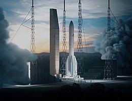 Ariane 6 nach der Zündung auf der Startanlage in Kourou - künstlerische Darstellung (Bild: ArianeGroup)