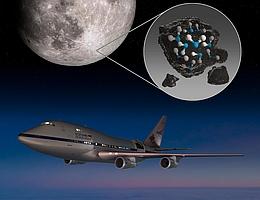 Illustration der Mondregion, in der SOFIA Wassermoleküle detektiert hat. (Bild: NASA/Ames Research Center/Daniel Rutter)