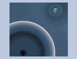 Die Fusion von schwarzen Löchern könnte Energie in Form von ELFs freisetzen (links unten im Bild). Deren schwache Signale könnten mit Quantensensornetzwerken wie dem GPS-Netzwerk (rechts oben im Bild) nachweisbar sein. (Bild: Sarah und Hannah Lilienthal)