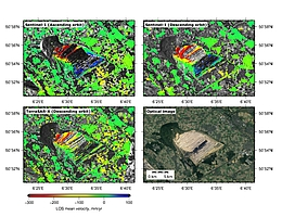 Mittlere Deformationsraten über dem Tagebau Hambach