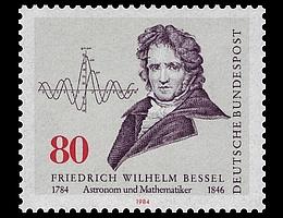 Von der Deutschen Bundespost 1984 anlässlich des 200. Geburtstages von Friedrich Wilhelm Bessel herausgegebene Briefmarke. (Bild: Bundesministerium der Finanzen (BMF). Entwurf von Hermann Schwahn, nach einem Gemälde von Johann Eduard Wolff.)