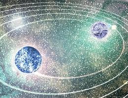 Künstlerische Darstellung zweier sich umkreisender Neutronensterne kurz vor der Kollision. (Bild: Niclas Moldenhauer)