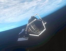 ClearSpace-1 mit eingefangenem Objekt - künstlerische Darstellung. (Bild: ClearSpace SA)