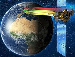 Kommunikationssatellit (Heinrich Hertz) über der Erde - Illustration. (Bild: OHB System AG)