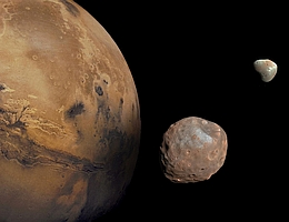 Die beiden Mars-Monde Phobos und Deimos. (Bild: NASA/JPL-Caltech/University of Arizona)