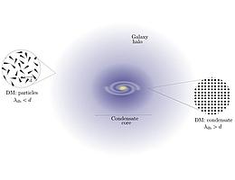 """Veranschaulichung des Verhaltens von ULDM in Galaxien: Es wird erwartet, dass sich in den inneren Teilen der Galaxie ein Kondensatkern bildet, da dort die Wellenlänge der ULDM kleiner ist als die mittlere Distanz der Teilchen, während sich die Dunkle Materie in den Außenbezirken oder außerhalb von Galaxien """"normaler"""" und als einzelne Teilchen verhält. (Bild: MPA)"""
