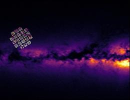 Sterndichtekarte der Milchstraße, erstellt mit dem StarHorse-Code unter Verwendung von Gaia-Daten. Auf der linken Seite ist das Gesichtsfeld des Kepler-Satelliten eingefügt. Die Punkte sind die APOGEE-Ziele im Kepler-Feld. Davon sind die älteren an Ort und Stelle geborenen Sterne in Magenta eingefärbt, die Sterne von Gaia Enceladus in Orange. (Bild: Daten: ESA-Gaia-DPAC, APOGEE-DR16, AIP/A. Queiroz & StarHorse Team)