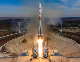 Liftoff für den fünften Start einer Sojus-2-Trägerrakete mit OneWeb-Satelliten an Bord. (Bild: Glavkosmos)