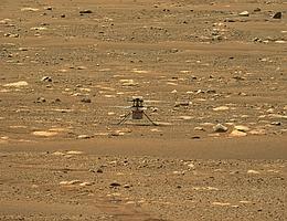 Perseverance beobachtete den Flug in einiger Entfernung. Mit seiner Mastkamera wurde dieses Bild aufgenommen. (Bild: NASA)
