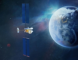 Superbird-9 über der Erde - künstlerische Darstellung. (Bild: Airbus)