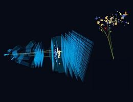 Sehr seltener Zerfall eines Beauty-Quarks unter Beteiligung eines Elektrons und Positrons, das mit dem LHCb-Detektor beobachtet wurde. (Bild: CERN)