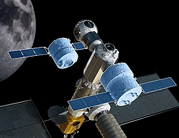 Cis-Lunar Transfer Vehicles (in Blautönen) - Illustration (Bild: Airbus)