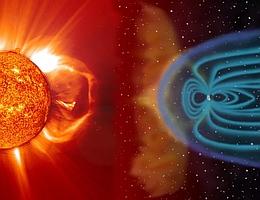 Sonnenwind und Magnetfeldlinien der Erde - Illustration. (Bild: NASA)