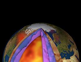 Das neue 3D-Modell kombiniert Satelliten- mit Erdbeben- und Gesteinsdaten und zeigt so zum ersten Mal, wie sehr sich der untere Erdmantel unter verschiedenen Ozeanen unterscheidet. In rot: Erderhebung Nordamerikas infolge von geschmolzenen Gletschern. (Bild: ESA/Planetary Visions)