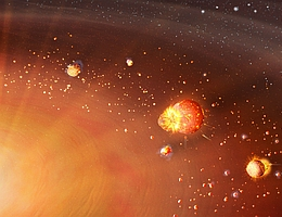 Die Entstehung des Sonnensystems in zwei unterschiedlichen Planetenpopulationen. Die inneren terrestrischen Protoplaneten beginnen früh zu entstehen, erben eine beträchtliche Menge an radioaktivem Aluminium-26 und schmelzen daher, bilden Eisenkerne und entgasen ihren ursprünglichen Gehalt an flüchtigen Bestandteilen schnell. Die Planeten des äußeren Sonnensystems beginnen ihre Bildung später und weiter draußen mit weniger radioaktiver Erwärmung und behalten daher den Großteil ihrer ursprünglich akkretierten flüchtigen Stoffe. (Bild: Mark A. Garlick / markgarlick.com)